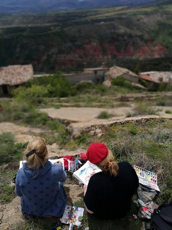 Anleitung, Tutorial Reisematerial, Reisekunstmaterial von Tine Klein für Aquarell, Skizzenbuch, Mallerei, Urban Sketching Sitgest, Spanien