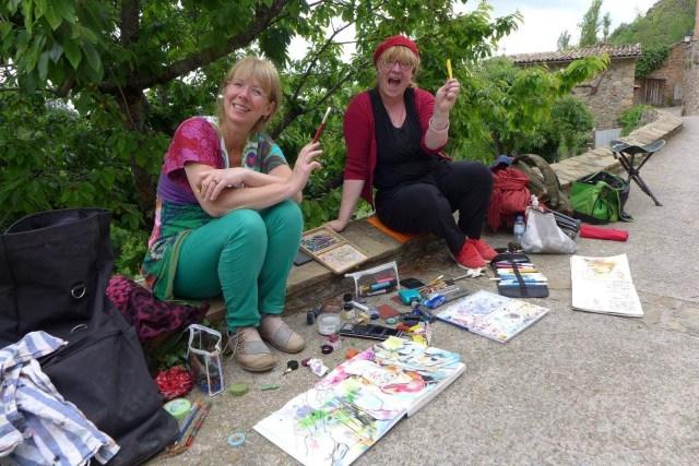 Karin Schliehe und Tine Klein beim Zeichnen, usk,urban Sketching, malen