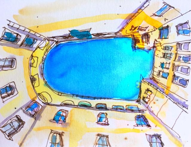 Tine Klein gibt eine Anleitung für eine grafische Reportage: Hier der Hinterhof der Urania Sternwarte in Zürich