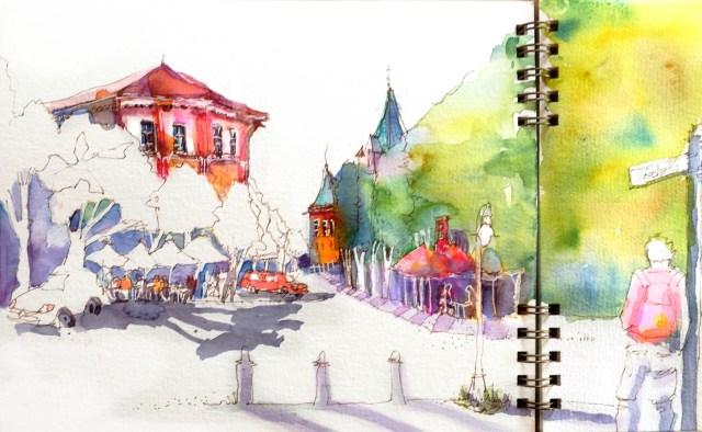 Sehen lernen für die Kunst Tine Klein,malt die Kollwitzstraße in Berlin