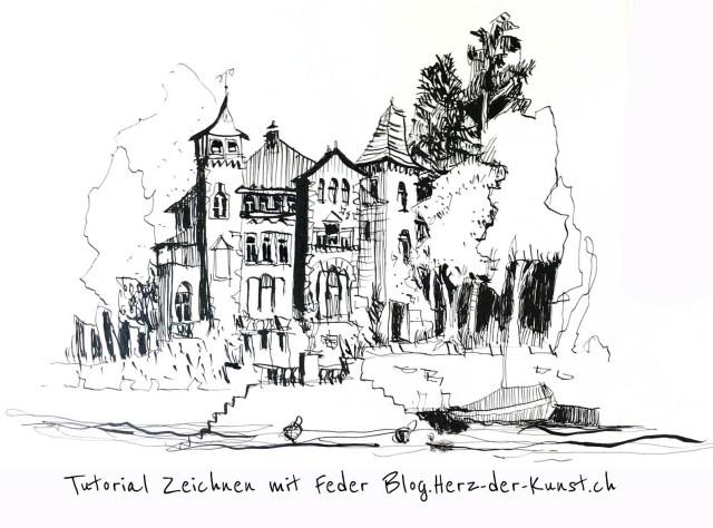 Anleitung, Tutorial Zeichnen mit feder und Tinte von Tine Klein Tinte für Aquarell, Skizzenbuch, Zeichnen lernen, Federhalter, Federzeichnung