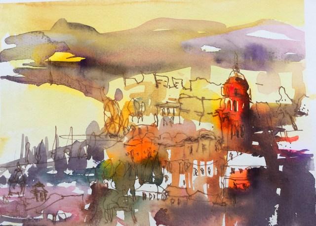Tine Klein, usk, usk Malaga, Malaga, urban Sketch, Skizzenbuch, Aquarell der Kathedrale von Malaga bei Sonnenuntergang