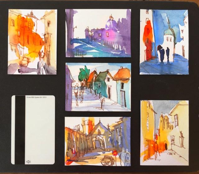 Tine Klein, frei malen, großzügig malen, freie Malerei im Scheckkartenformat