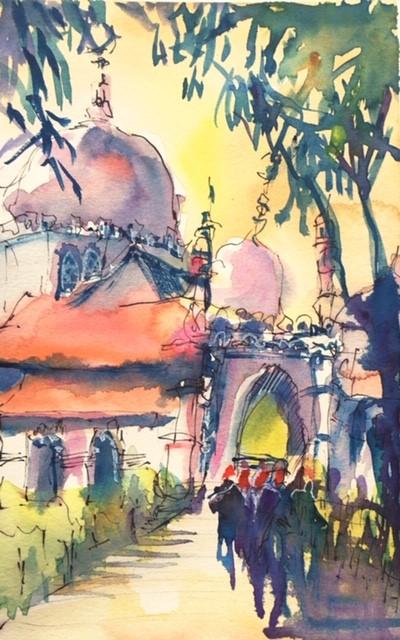 Tine Klein malt georgetown Malaysia, Kapitan Kelin Moschee Reiseskizze