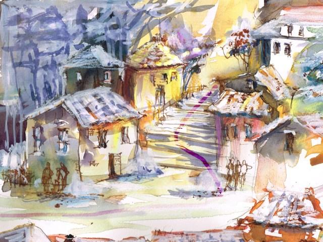Tine Klein Treppe zum Marktplatz Tessin Bildentwurf Dynamik durch Bewegung