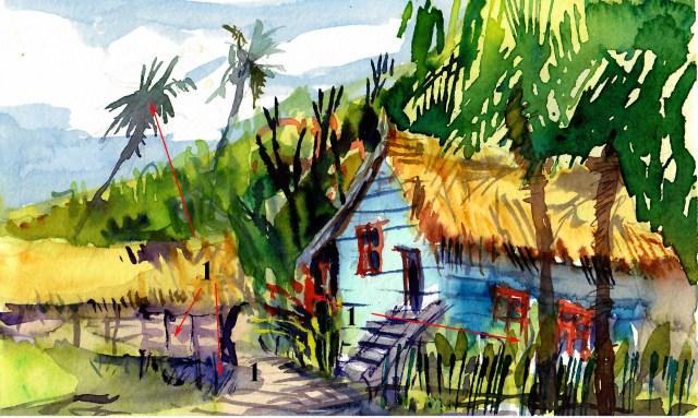 Tutorial Tine Klein blaue Hütte auf Langkawi Malaysia Bon Ton Temple Tree Aquarellskizze mit Reisepinsel