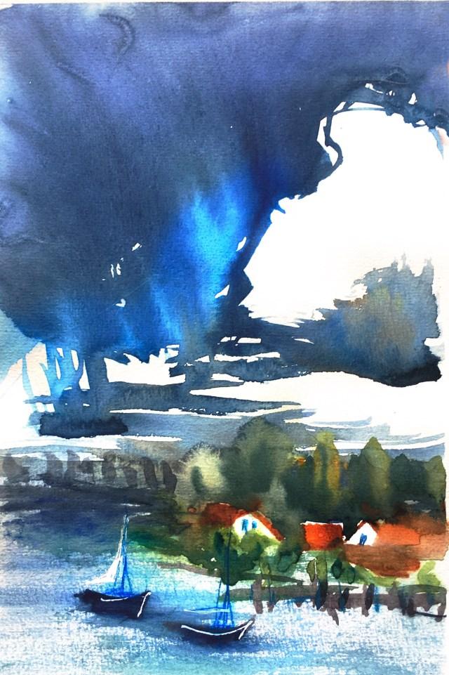 Tine Klein Aquarell mit Hake Brush wolken Motiv:Allensbach am Gnadensee , Bodensee