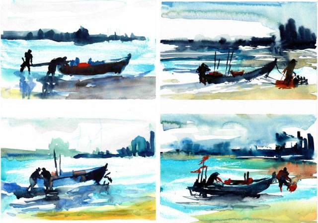 Tine Klein malt die letzten Fischer von Haffkrug in der Lübeckerbucht, einfarbig