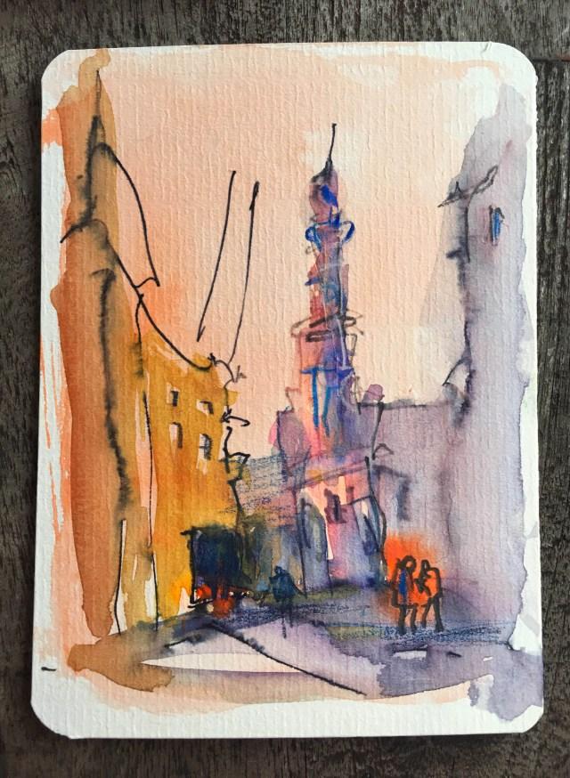 Malen lernen - die besten Tipps Farbstudie Kirche in Amsterdam