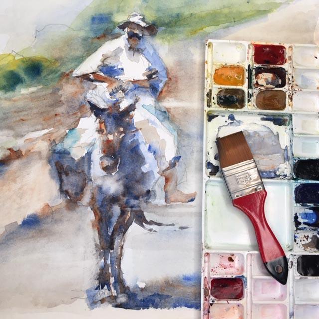 Aquarell Mann auf einem Esel: Blog Tine Klein ,Aquarellpalette das Zuhause für große Pinsel