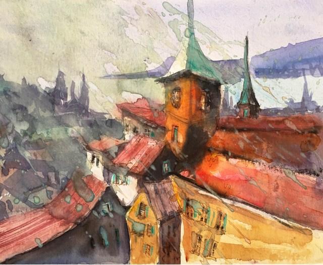 Tine Klein Aquarell Züricher Altstadt im Regen.