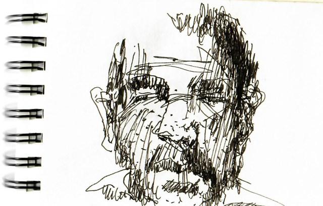 Tine Klein malt ein Portrait zum Thema wilde Schraffur