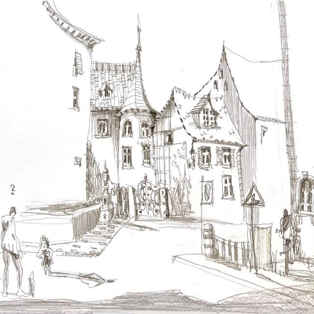 Basel Ecke Rheingasse, Skizze mit Bleisstift von Tine Klein