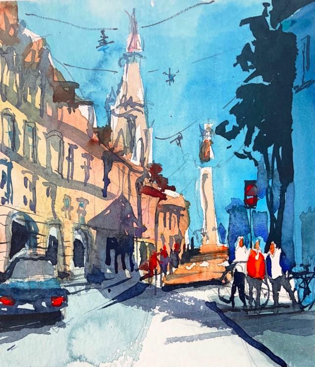 Tine Klein Aquarell Bern Münster Tutorial zum Himmel malen, urban Sketching