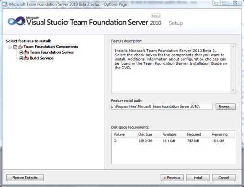 Microsoft Team Foundation Server 2010 Install - Options Page