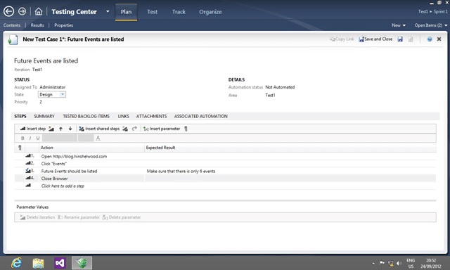 Test Manager allows you to manage the Test Steps