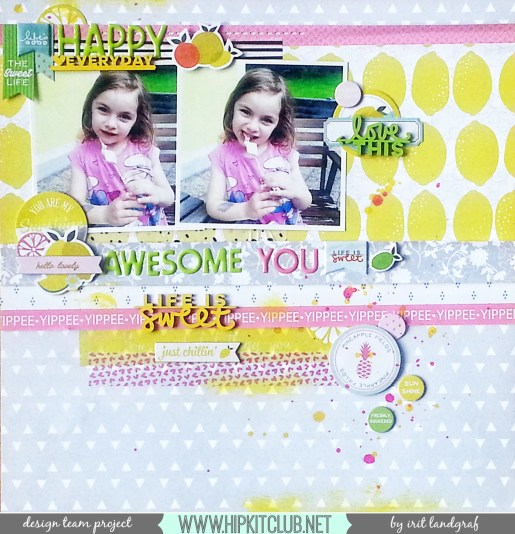 12*12 layout created by Irit Landgraf using the May 2015 Hip Kit Club kits #hipkitclub @hipkitclub #scrapbookingkit