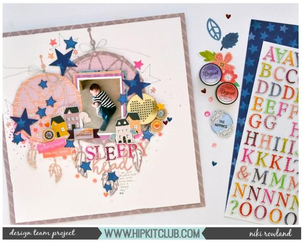 Sleepy Head Niki Rowland Hip Kit Club August 2019 Hip Kits Paige Evans Truly Grateful Maggie Holmes Heritage Crate Paper Pink Paislee set