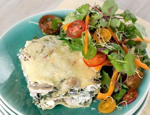MUSHROOM AND SPINACH LASAGNE, cooking online, online recipies, fathers day meal, meat free monday