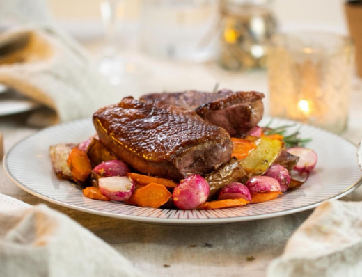 Air Fried Orange Glazed Duck With Baked Vegetables