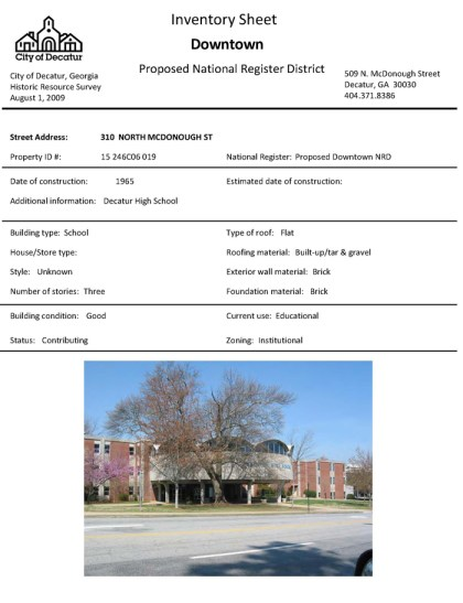 Decatur High School Inventory sheet from the 2009 citywide historic resources survey. There are no corresponding forms for the former Beacon and Trinity schools because they were not inventoried during the survey.