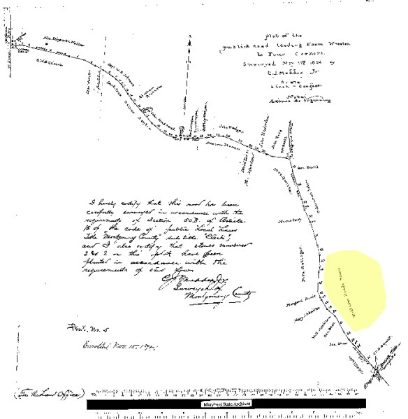 Public Road Leading from Wheaton to Four Corners. 1894 plat. Credit: Maryland State Archives.