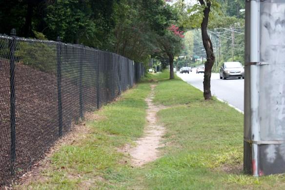 Desire line, Briarcliff Road, Atlanta, Ga. August 2013.