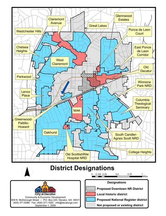 Overview map from the City of Decatur's 2009 citywide historic resources survey. The arrow indicates the former Antioch church location. Credit: City of Decatur.