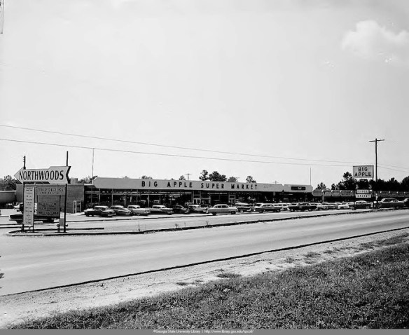 Big Apple supermarket at Northwoods shopping center, c. 1952. Special Collections and Archives, Georgia State University Library