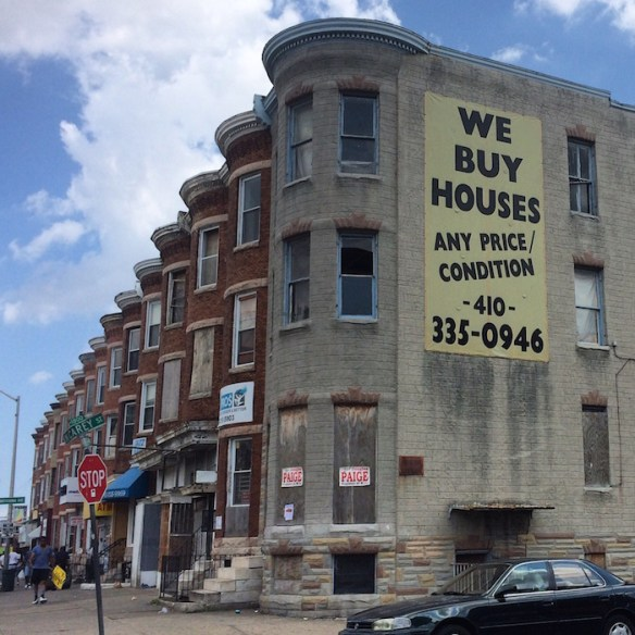"""""""We Buy Houses sign,"""" North Ave. and North Carey St., Baltimore."""