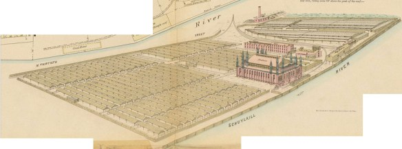 Philadelphia stockyards and abattoir illustrated in Hexamer's General Surveys of Philadelphia, Vol. 12 (1877).