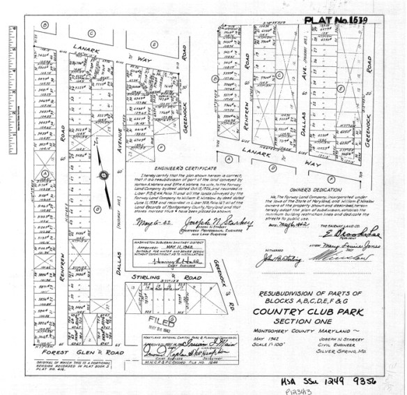 Typical Fairway Land Company plat. Credit: Maryland State Archives.