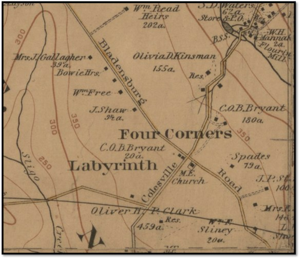 Four Corners, c. 1894, showing Bryant's properties. Library of Congress map.