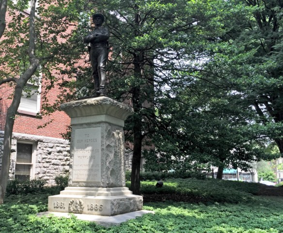 Rockville Confederate monument. Montgomery County Executive Ike Leggett ordered the statue removed in 2015.
