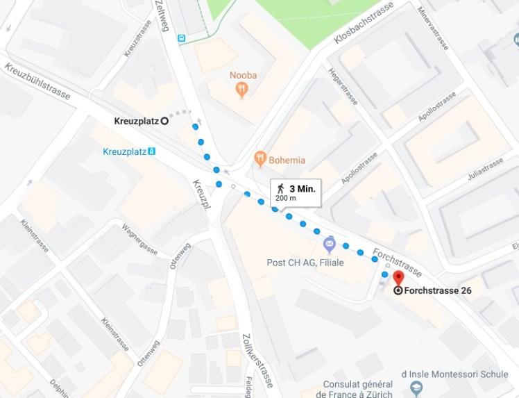 """Wegbeschreibung von der Haltestelle """"Kreuzplatz"""" bis zur Forchstrasse 26/28"""