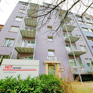 Fassade der HITrental Letzigrund Apartments