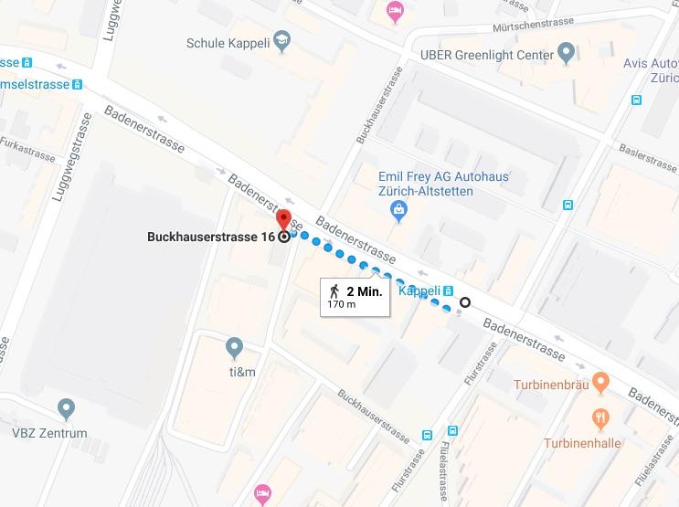 Wegbeschreibung von der Haltestelle Zürich, Kappeli zur Buckhauserstrasse 16