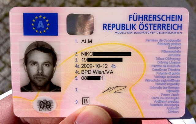 Driver's license of Niko Alm, the colander-wearing Pastafarian