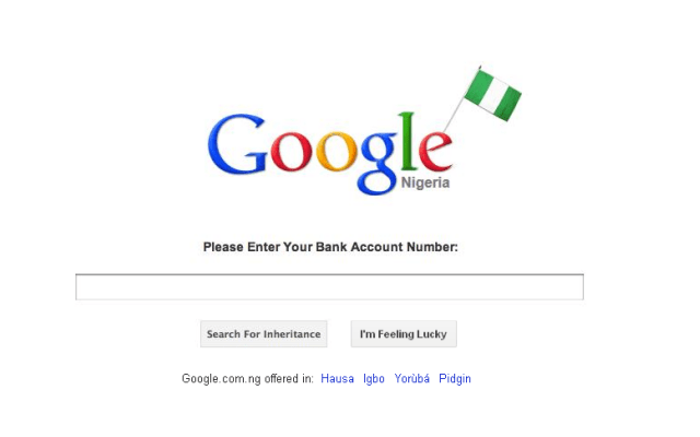 Faux Nigerian Google page