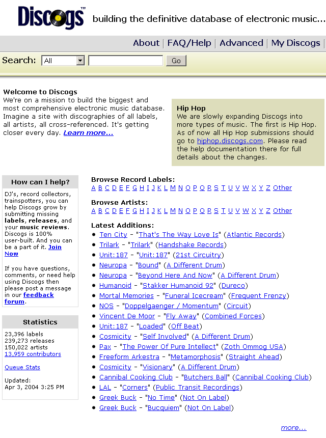 Mock-up of the main page from 2004
