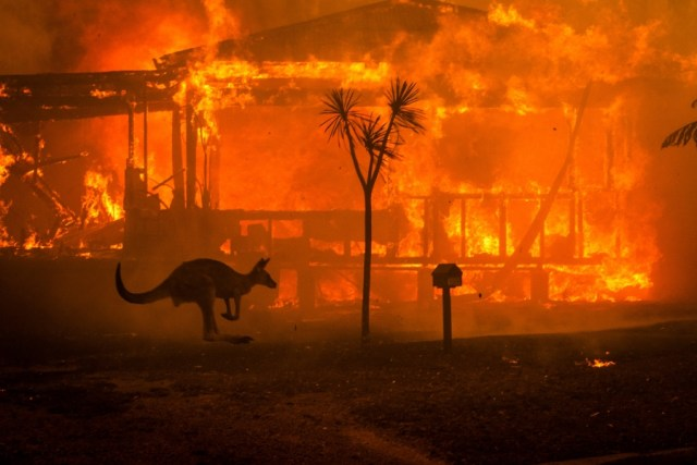 A house burning in Lake Conjola, New South Wales, on New Year's Eve