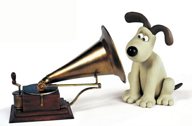 Grommit does his best Nipper impression (image via HMV/Aardman)