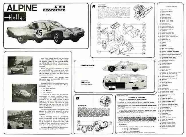 Heller Alpine-Renault A210 Le Mans Instructions