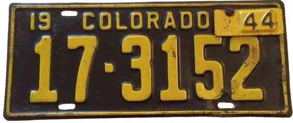 1944 Colorado license plate
