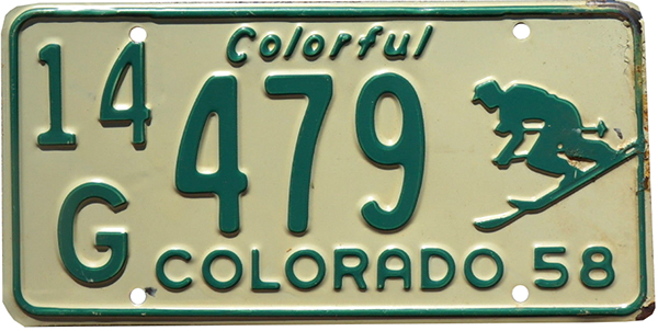 1958 Colorado license plate