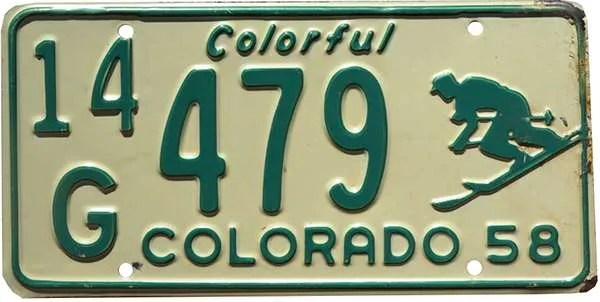 1958 Colorado license plate