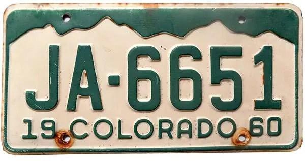 1960 Colorado license plate