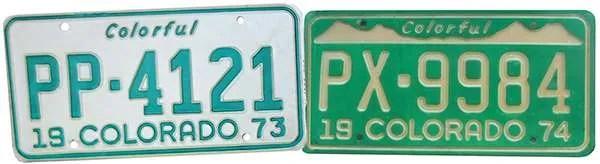 1973 1974 Colorado license plate