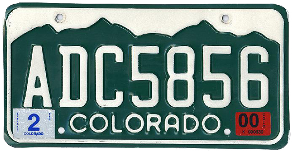 1999 Colorado license plate