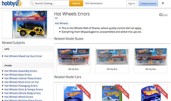 hobbyDB hot wheels error
